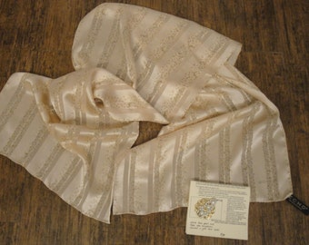 Vintage Echo cream silk 58 by 15 inch oblong, Sophisticated neutral stripe in classic versatile size, Bonus magnetic back brooch