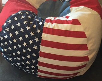 American Stars and Stripes Patriotic Americana Bean Bag chair 4th of July