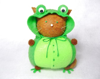 Cat in frog costume, Felt animal pincushion, Costumed cat, Frog suit cat, Stuffed cat, Cute green froggy, Sewing room decor, Funny cat gift