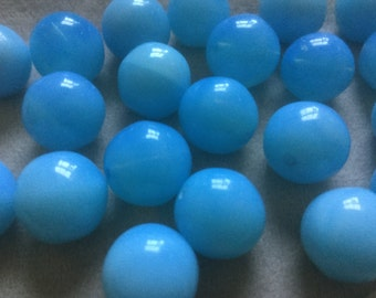 Vintage Glass Beads (6)(13mm) Bright Aqua Blue Czech Beads