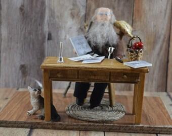 Leo Tolstoy- Russian Literature-  Miniature Diorama Scene-  One of a Kind Art-   Russian Writers- Book Geek Gift