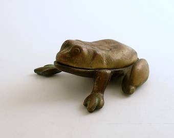 Vintage Metal Frog Trinket Box Ashtray Match Holder