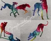 Seaside Dreams Greyhound Dog Notecards Set of 4 w/env