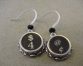 Typewriter Key Earrings  DOLLARS and CENTS  Typewriter Key Jewelry Earrings