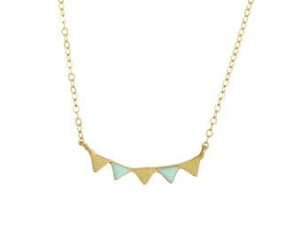 Dainty gold garland enamel necklace // Gold pennant necklace