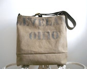 Cleveland Ohio canvas cross body messenger, tote bag - 1940s Merchant Marine sailor - eco vintage fabricsh
