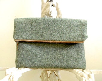 Heather wool clutch foldover, iPad case, large utility pouch, sage green - eco salvaged fabrics