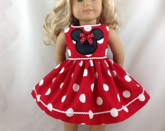 American Girl Doll Red Dress RED Mickey Mouse Minnie Mouse Polka Dot Disneyland Disney World 18 in with Mouse Ears FREE Hanger