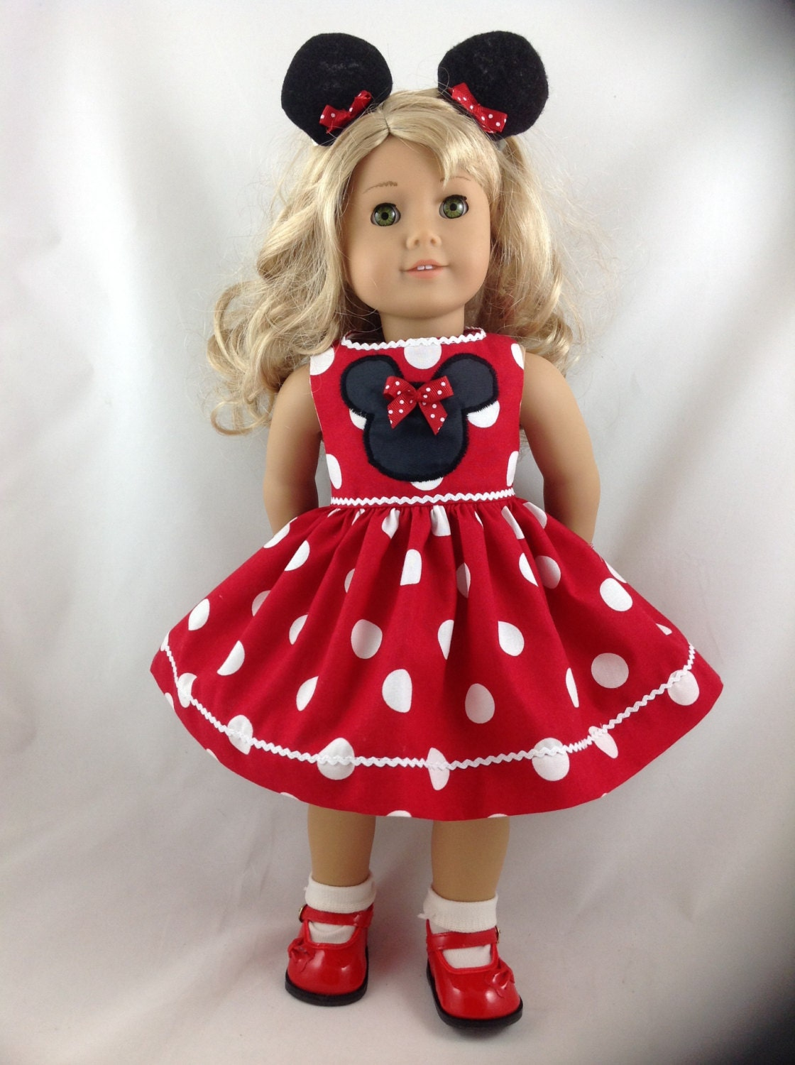 American Girl Doll Red Dress Red Mickey Mouse Minnie Mouse