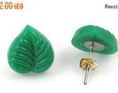 ON SALE Small Green Leaf Post Earrings