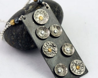 Mixed Metal Statement Necklace, Geometric Circles, One of a Kind Unique Statement Jewelry, Geometric Jewelry