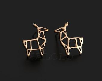 Deer Geometric Golden Stud  Earring Post Finding (ET029A)