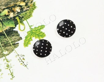 Sale - 10pcs handmade white dots on black round clear glass dome cabochons 12mm (12-9797)