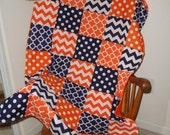 Navy and Orange Quatrefoil Chevron and Dots Patchwork Minky Comforter Blanket You Choose Size and Minky Color MADE TO ORDER