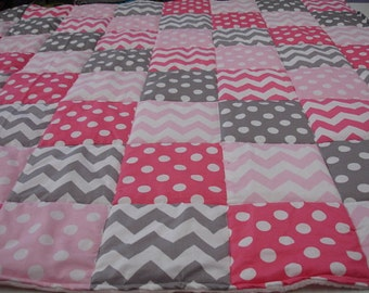 Chevrons and Dots in Baby Pink Hot Pink and Gray Minky Blanket You Choose Size and Minky Color MADE TO ORDER No Batting