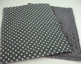 Charcoal Dumb Dots Flannel Baby Burp Cloth Set with Minky READY TO SHIP