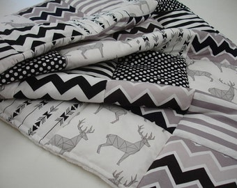 Mosiac Deer Black Gray and White Patchwork Blanket You Choose Size MADE TO ORDER No Batting