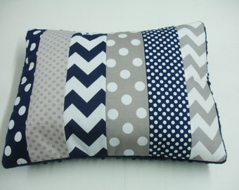 Navy and Gray Chevron and Dots Strip-Style Patchwork Pillow Sham
