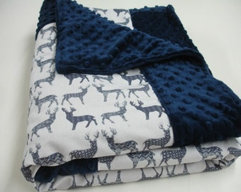 Meadow Deer Navy on White Minky Baby Blanket You Choose Size MADE TO ORDER No Batting