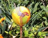 NEW ITEM Yellow Cosmic Hand Blown Glass Orb or Garden Ball Art Sculpture Outdoor Decoration