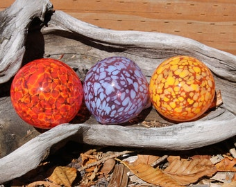 Set of 3 Colorful Hand Blown Glass Floats, Garden Balls, Gazing Orbs Garden Decoration