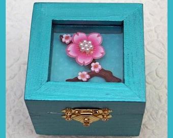 Aqua Glass Top Trinket Box, Jewelry Box, Keepsake Gift Box, Jewelry Holder, Jewelry Storage, Unique Gift, Ring Box