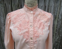 H Bar C Peach Lace inset Western shirt California Rancher Rustic Cowgirl Prairie Hipster rockabilly Country Western Rodeo Gift for her 30
