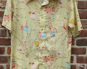 Pale Yellow Floral Tapered Shirt Transformation by Mack Retro Poly Cotton Rockabilly Ultra Hip Disco Hipster Bohemian Short Sleeve Gift Med