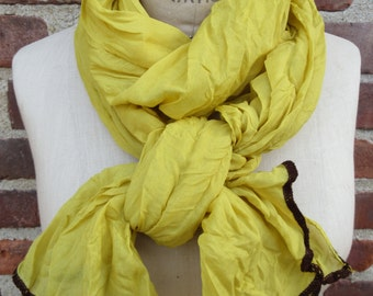 Thin Golden Yellow Crinkled Scarf Boho chic Bohemian Head Wrap Lightweight Soft Simple Modern Spring Summer Fashion Accessory Gift for Her