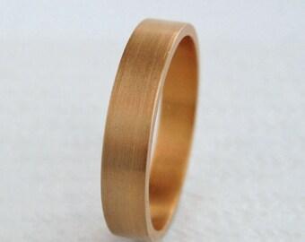 4mm Gold Wedding Band | Flat Edge Wedding Band | 14k 18k Rose Gold Ring | Eco friendly Recycled Gold | Men's Women's Rose Gold Wedding Band