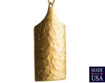 1 Hole Raw Brass Textured Rectangle Pendant (6) mtl422A