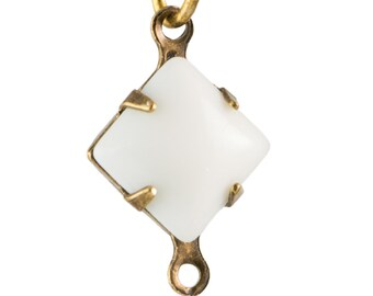 Vintage White Square Glass Stones 2 Loop Brass Ox Setting 8mm (6) squ017AA2