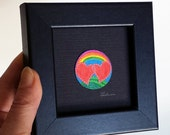 Gay Wedding Gift Love Wins Anniversary Present for Couple or Spouse Paper First Year Spiritual Joyful Mandala Artwork 3x3 Black framed