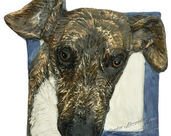 Greyhound Dog Tile CERAMIC Portrait Sculpture 3d Art Tile Plaque FUNCTIONAL ART by Sondra Alexander In Stock