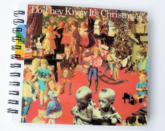 Band Aid Do They Know Its Christmas  // Record Journal & Sketchbook // Recycled 45 Album Cover