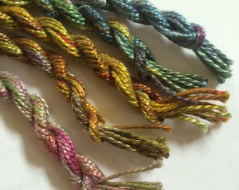 Hand dyed, Multi coloured rainbows of thread, ideal for all textile decorations