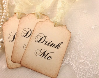Drink Me Tags Alice In Wonderland Party Favor Tags