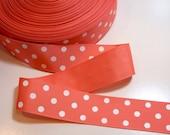 Orange Ribbon, Orange Coral and White Polka Dot Grosgrain Ribbon 1 1/2 inches wide x 10 yards