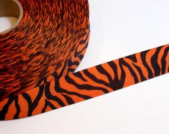 Orange Ribbon, Orange Tiger Stripe Grosgrain Ribbon 7/8 inch wide x 6 yards, Orange Grosgrain Ribbon