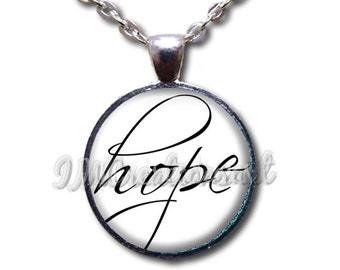 Affirmations Hope Love Faith - Round Glass Dome Pendant or with Necklace by IMCreatios -  WD100
