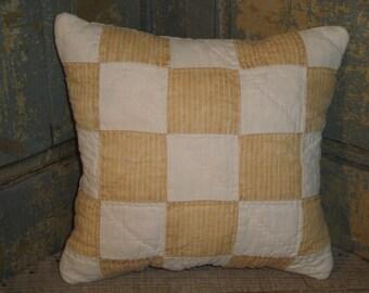 Antique Quilt Pillow | Vintage Quilt Pillow | Repurposed Old Quilt  | Primitive Pillow | Cupboard Tuck | Shelf Sitter | Small Quilt Pillow