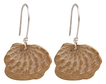 Bronze Earrings with Silver Hooks