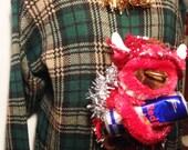 Ugly Christmas Sweater Tacky Green Plaid Men's XL Red Bull Bill Blass