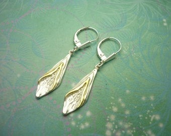Vintage Sterling Silver Earrings  Trees and Mountains with gold plating