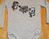 Baby Onesie Organic Cotton Long sleeved cute animals panda penguin zebra gift newborn