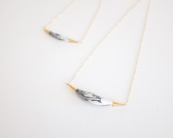 Marbled Arc Necklace - Porcelain - Porcelain Jewelry - Marble Jewelry - Elegant, minimalist jewelry, nickel free