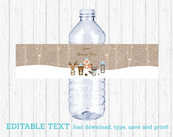 Winter Woodland Animal Water Bottle Labels / Winter Woodland Baby Shower / Blue Woodland / Printable INSTANT DOWNLOAD Editable PDF A122