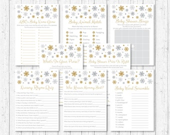 Snowflake Baby Shower Games Package / Snowflake Baby Shower / Winter Baby Shower / Silver & Gold / 8 Printable Games / INSTANT DOWNLOAD A130