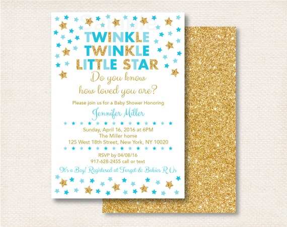 twinkle twinkle little star baby shower invitation gold glitter star