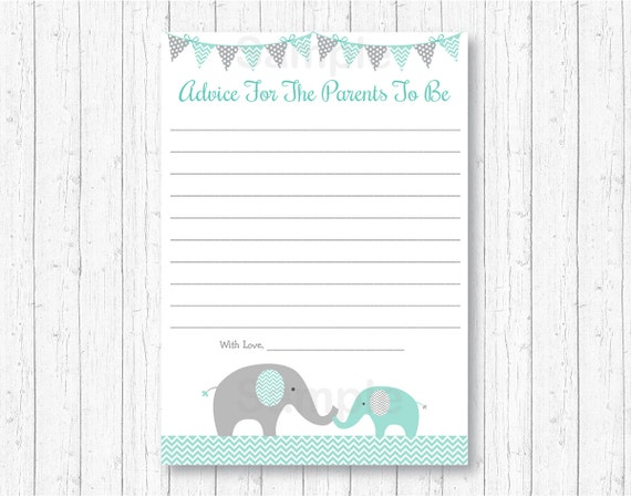 graphic relating to Mommy Advice Cards Printable referred to as Data relating to Mint Environmentally friendly Gray Chevron Elephant Printable Boy or girl Shower Mommy Guidance Playing cards